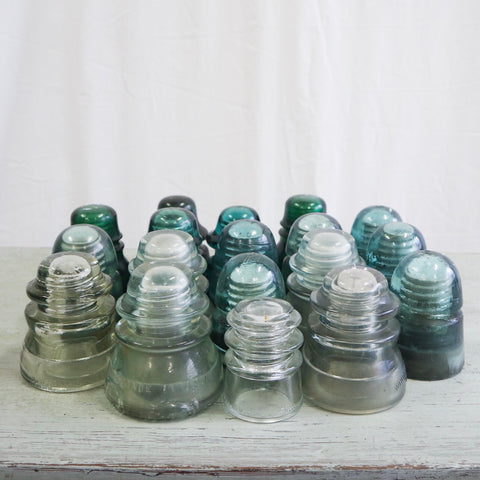 Set of 6 Green Blue and White Insulators