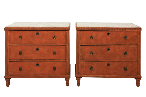 Pair of Red Gustavian Commodes