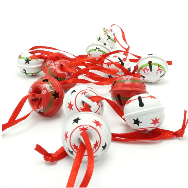 Reindeer - Red and White Metal Small Jingle Bells - 3 Types - Total 12 pieces for Christmas Decorations - 25mm*25mm*20mm - Go Jingle Bells