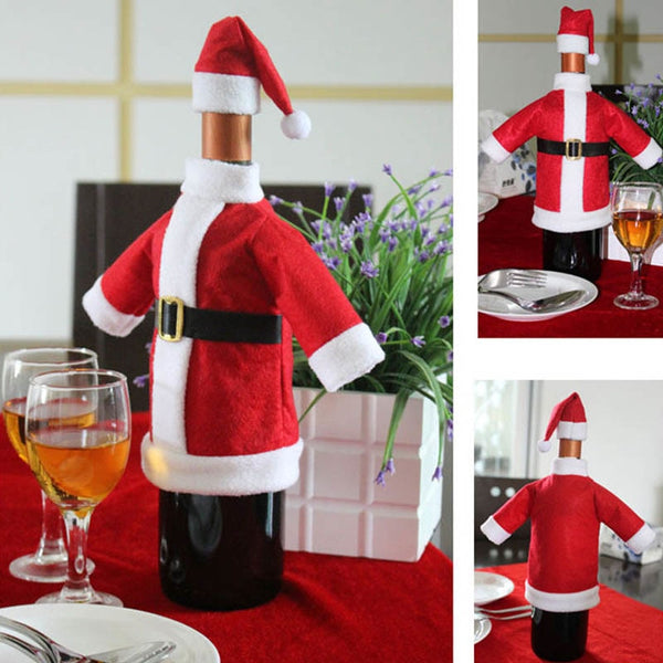 Santa Red Wine Bottle Cloth Cover With Hat - Christmas Decorations for Dinner Table - 1 piece - Go Jingle Bells