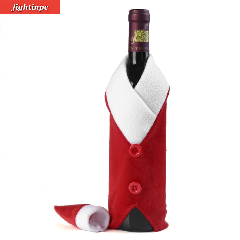 Christmas Wine Bottle - Set of Santa Claus and Cap Cover - Fleece based - Decoration for Dinner Party Table and great gift - Go Jingle Bells