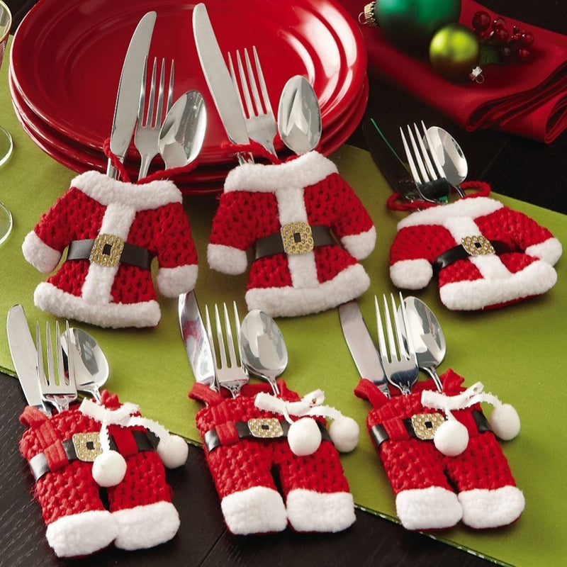Santa's Fancy Silverware Holders - Christmas Decorations - Pockets - Dinner Table accessories - Free Shipping - Go Jingle Bells