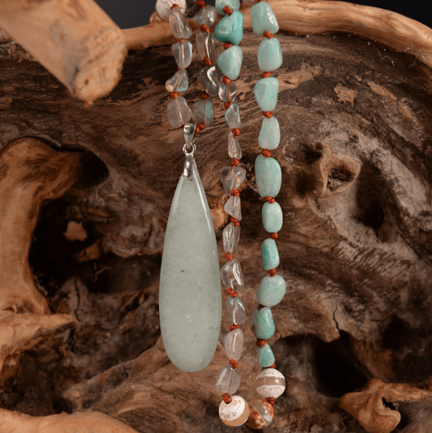 Healing Labradorite, Onyx and Amazonite Necklace