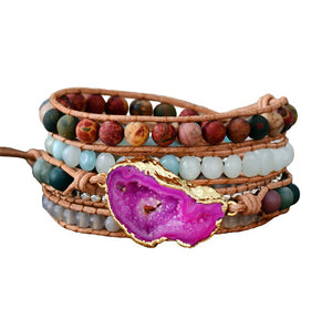 Passion Crystal Healing Wrap Bracelet (Pink Agate)