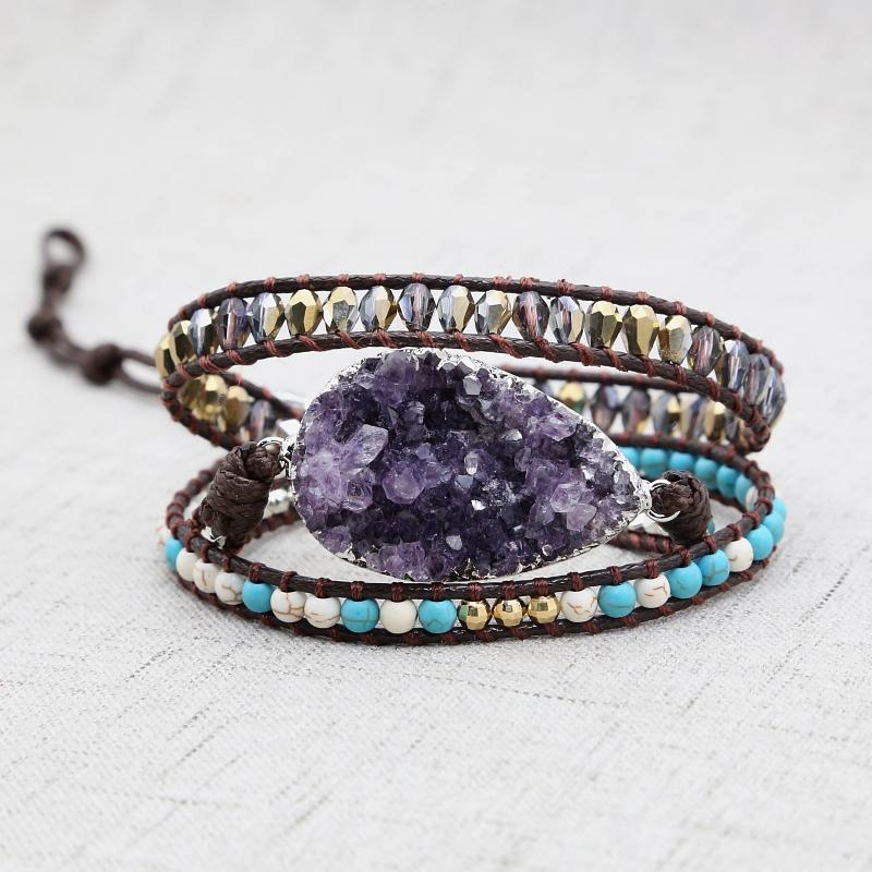 Healing Natural Amethyst Wrap Bracelet for Protection (Limited Edition)