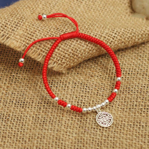 925 Sterling Silver Lucky Red Rope (Prosperity) + 10% Donation