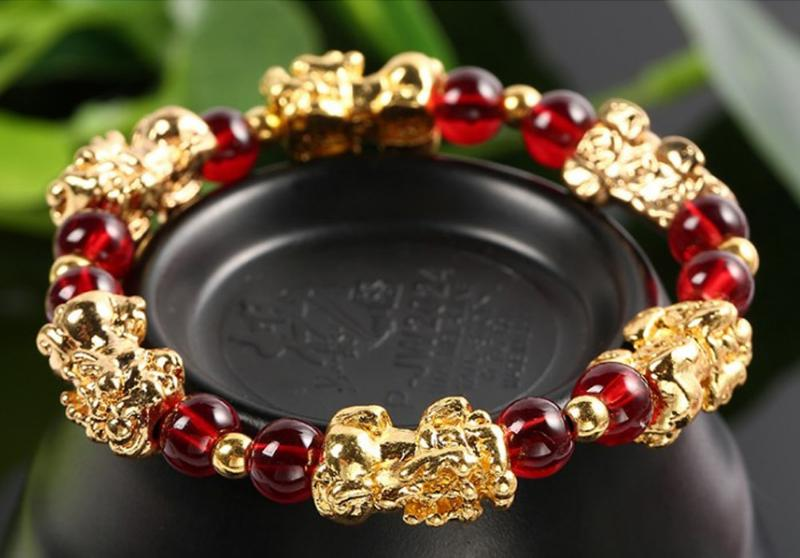 Red Garnet Pi Xiu Bracelet for Protection and Wealth