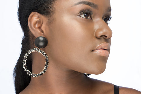 Caviar Hoop Earrings - Ebony