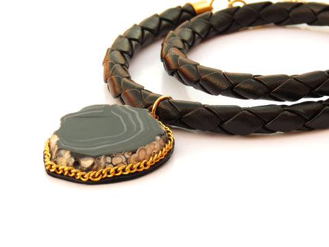 Black Druzy Leather Wrap Choker Necklace