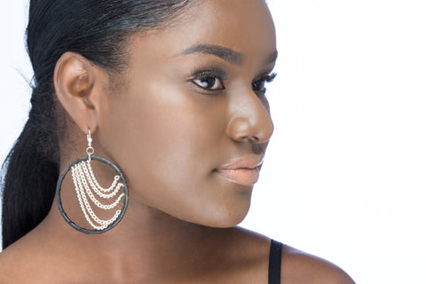 Chandelier Drape Hoop Earrings - Ebony