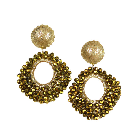 Crystal Beaded Diamond Drop Earrings - Gold