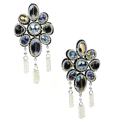 Crystal Petal Earrings - Black