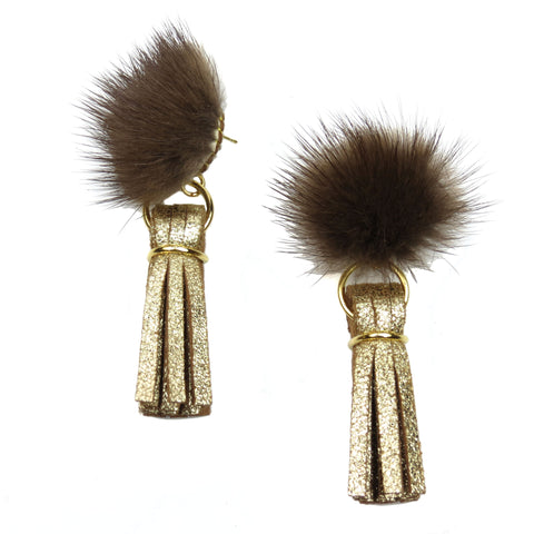 Mink Tassel Earrings - Gold
