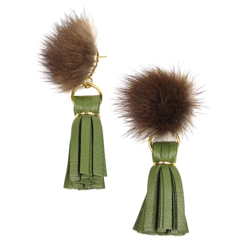 Mink Tassel Earrings - Moss