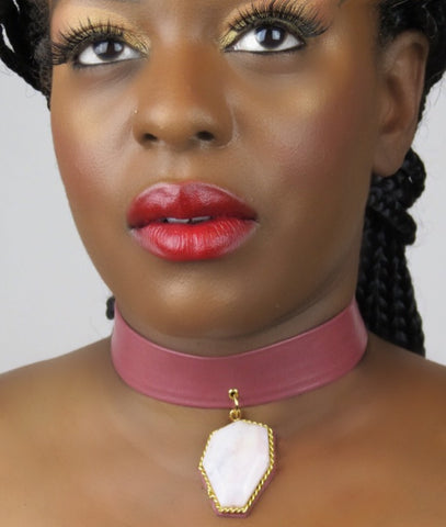 Leather Opal Gemstone Choker Necklace - Blush Pink