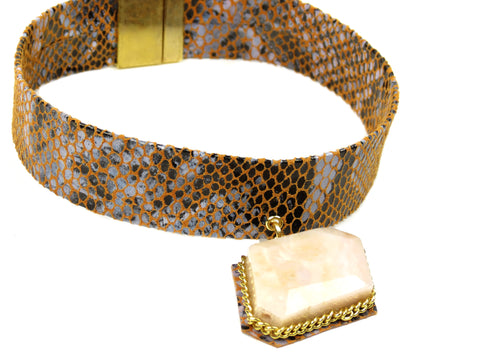 Leather Opal Gemstone Choker Necklace - Snakeskin