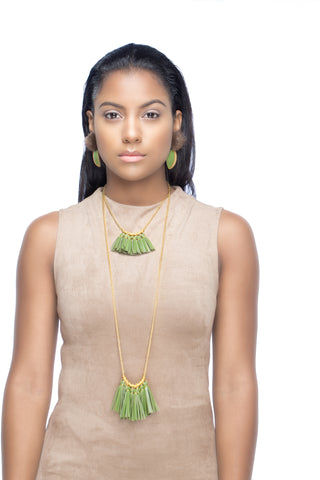 Levels Fringe Necklace - Wine