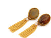 Gemstone Chain Tassel Earrings - Neutral