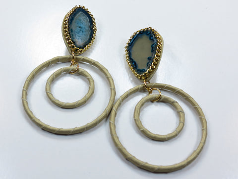Gemstone Hoop Earrings - Blue