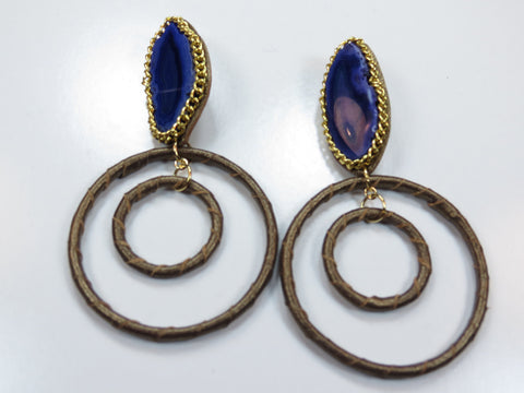 Gemstone Hoop Earrings - Purple