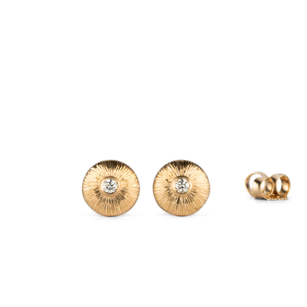 Gold and Diamond Aurora Stud Earrings by Corey Egan