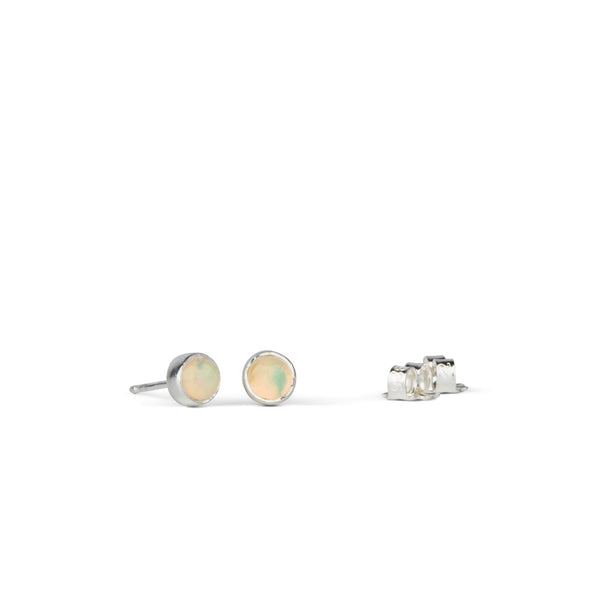 Silver and Opal Cabochon Stud Earrings by Corey Egan