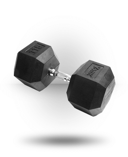 York Barbell Rubber Hex Dumbbell With Chrome Ergo Handle 115 lb