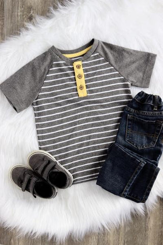 Jake Short Sleeve Striped Henley