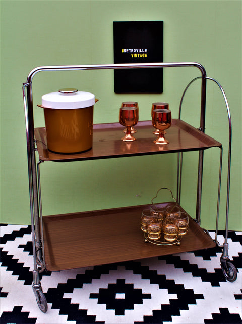 Gerlinol German Vintage Folding Bar Cart Drinks Trolley