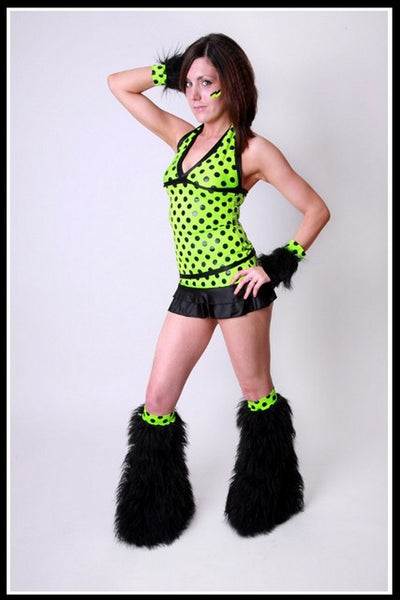 Long Trance Black & Green Mini Polka Outfit