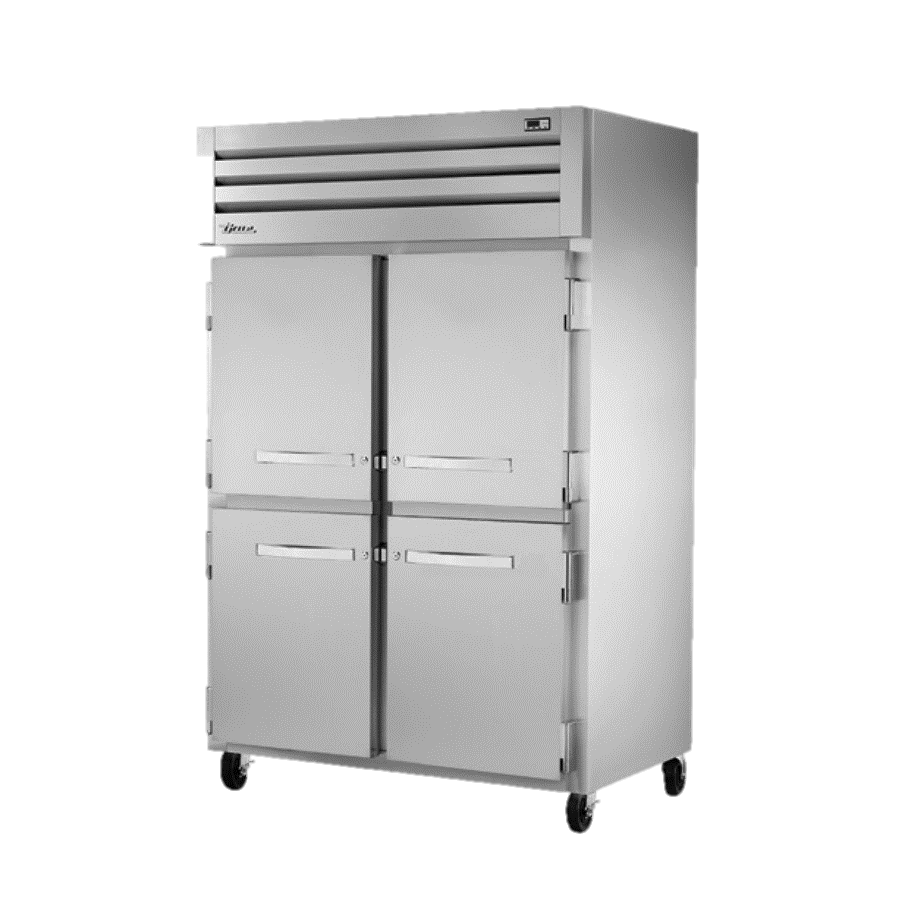 True Two Section Four S/S Half Door Reach-In Refrigerator
