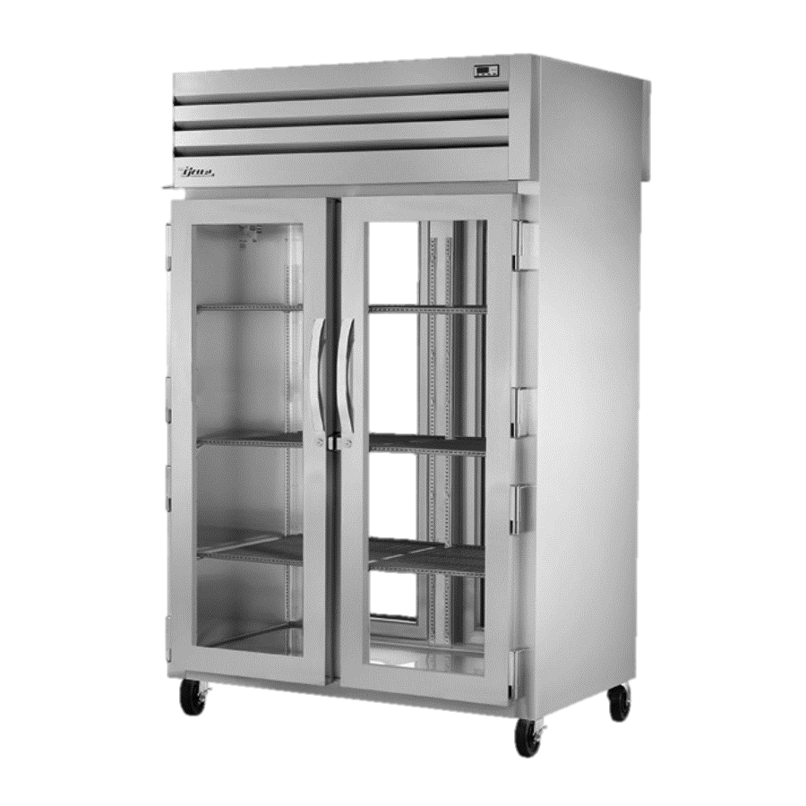 True Two-Section Two Glass Door Front & Rear Pass-Thru Refrigerator