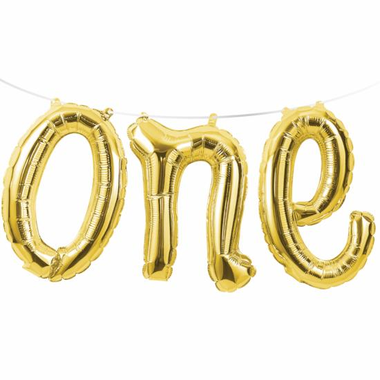 ONE GOLD BALLOON BANNER