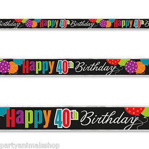 Birthday Cheer 40th Banner 12 Ft.