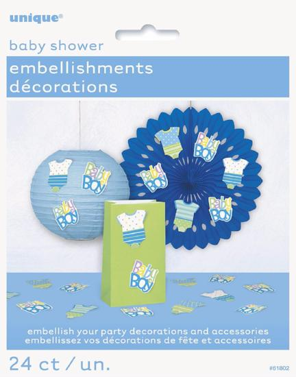 24 Blue Dots Baby Shower Party Embellishments