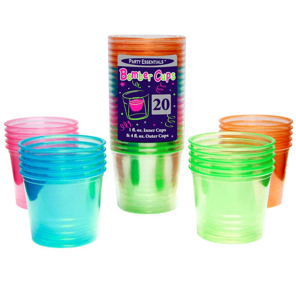 4 Oz Bomber Cups Assorted - Neon Soft Plastic