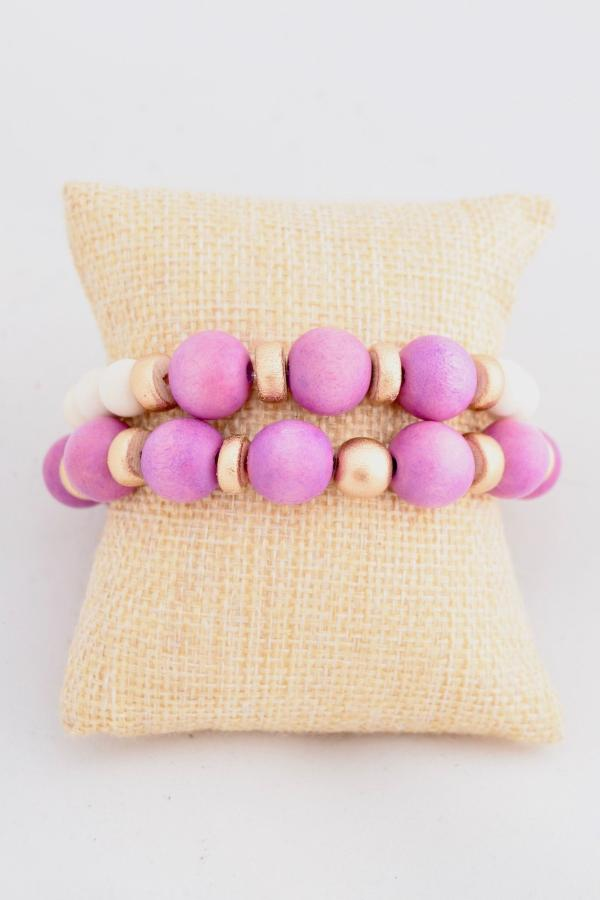 Purple and Gold Stacking Bracelets