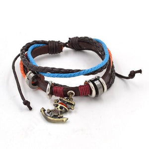 One Piece Leather & Rope Bracelet