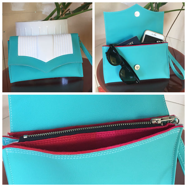 Clutch Bag With Mercury Style Pleating - Turquoise  With Arctic White Pleats / Magenta Geometrical Lining