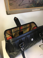 Small City Bag with Riviera Style Pleating - Onyx Black / Light Brown Serape Lining
