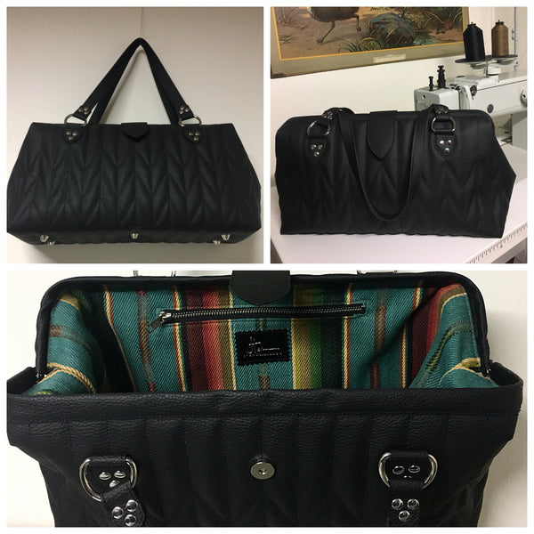 City Bag with Firebird Style Pleating - Pebble Black with Turquoise Serape Print Lining