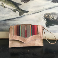 Death Valley Clutch Bag - Light Brown Serape / Natural Cork - Sangria Red Lining