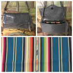 Clutch / Shoulder Bag With Mercury Pleating - Steel Gray Glitter Vinyl /  Teal Serape Print Lining
