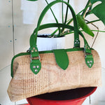 Small City Bag with Mercury Style Pleating - Cork / Olive Green Trim