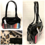 Tuck and Roll Tote Bag - Mexican Blanket with Clear Overlay / Grease Black Vinyl - Leopard Lining