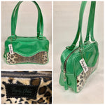Tuck and Roll Tote Bag - Leopard with Clear Overlay / Sea Foam Green Glitter Vinyl - Leopard Lining