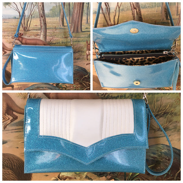 Clutch / Shoulder Bag - Sky Blue Glitter Vinyl with Pearl White / Leopard Lining