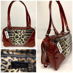 In Stock! Comet Tote Bag - Leopard with Clear Overlay / Red Glitter Vinyl - Leopard Lining