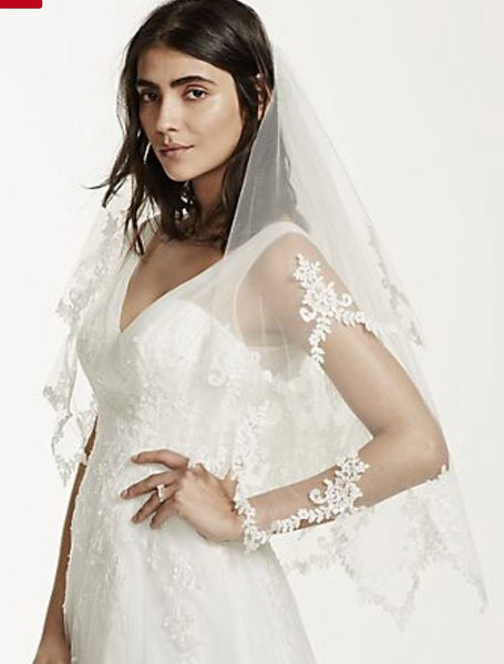 Double tier tulle knitted white wedding veil