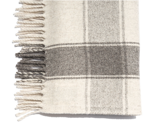 Cream/Grey Cruz Stripe Blanket by Mexchic | H. SMITH